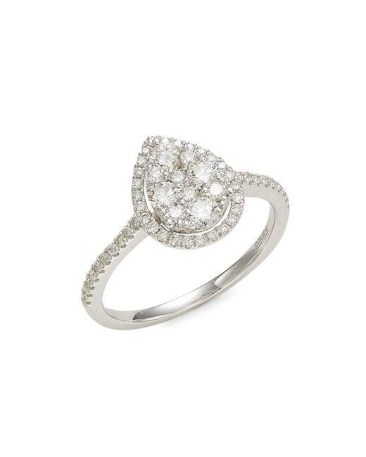 Effy Metallic Women's 14k White Gold & Diamond Ring - Size 7
