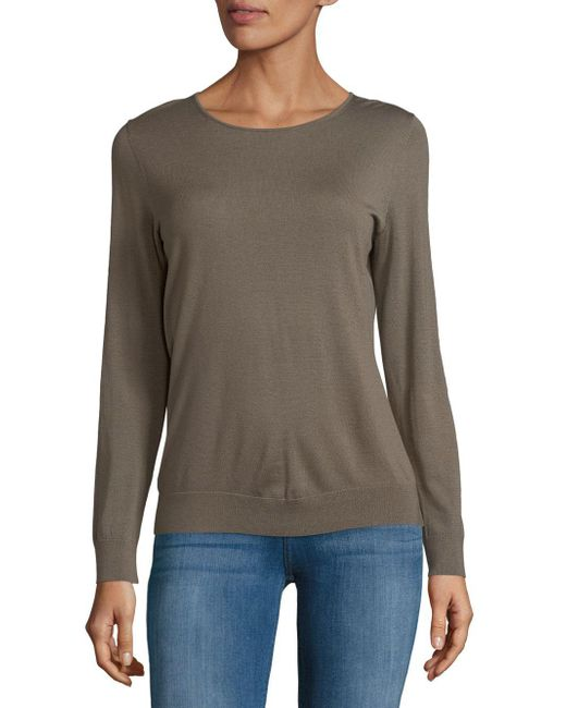 Lafayette 148 New York - Gray Crewneck Wool Sweatshirt - Lyst