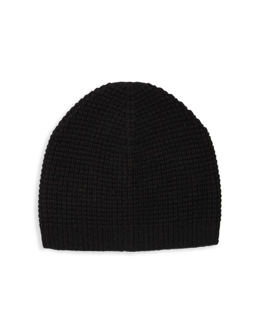 Saks Fifth Avenue Black Waffle Cashmere Beanie for men
