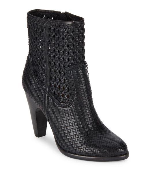 Frye - Black Celeste Woven Leather Booties - Lyst
