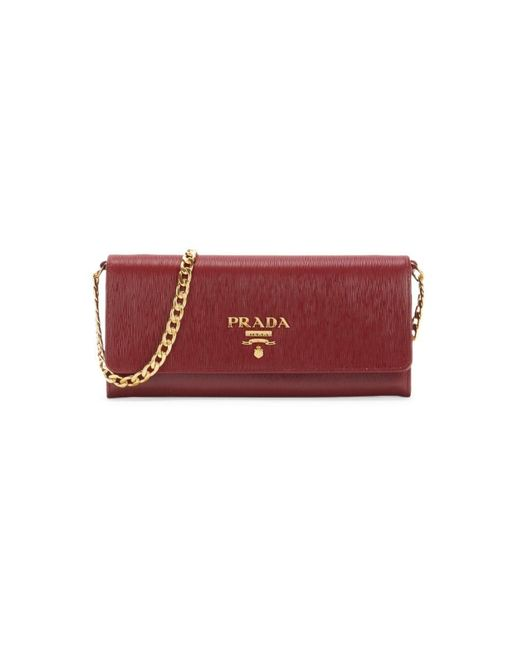 Prada Red Move Leather Wallet-on-chain