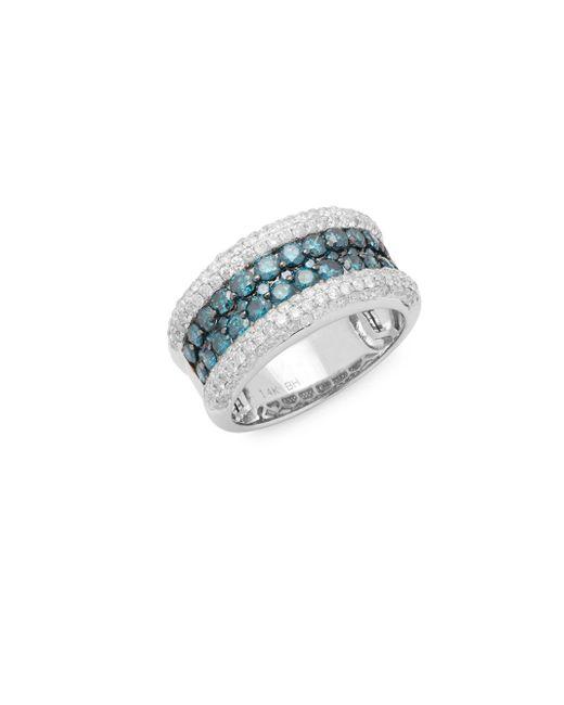Effy | White Diamond, Blue Diamond And 14k White Gold Ring | Lyst
