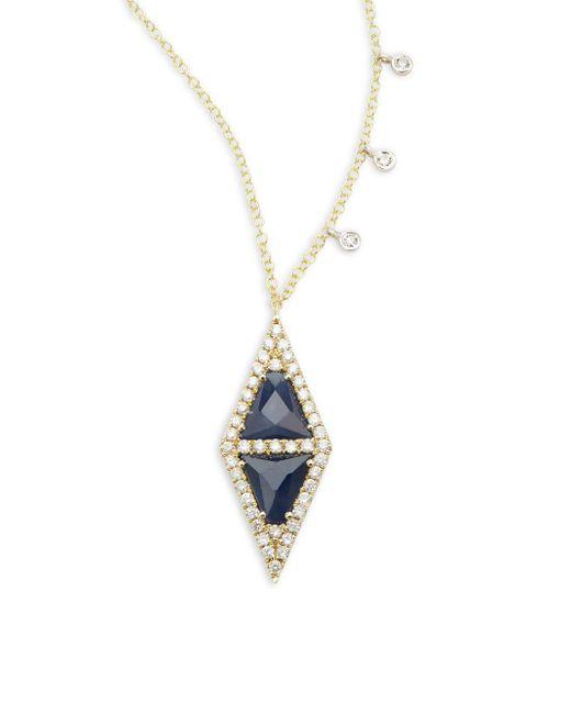 Meira T | Metallic Diamond, Blue Sapphire & 14k Yellow Gold Pendant Necklace | Lyst