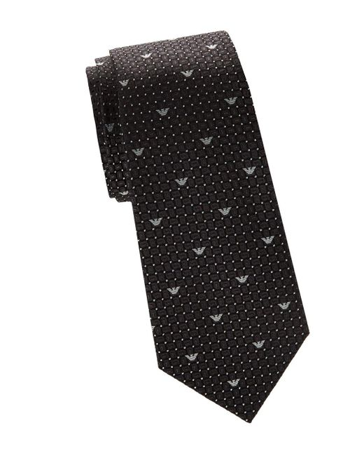 Armani - Black Geometric Logo Print Silk Tie for Men - Lyst
