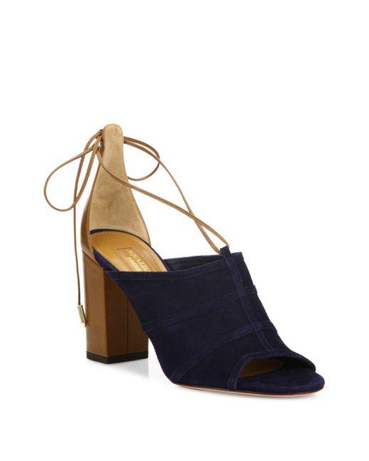 Aquazzura - Blue Very Eugenie Chunky Heel Leather Sandals - Lyst