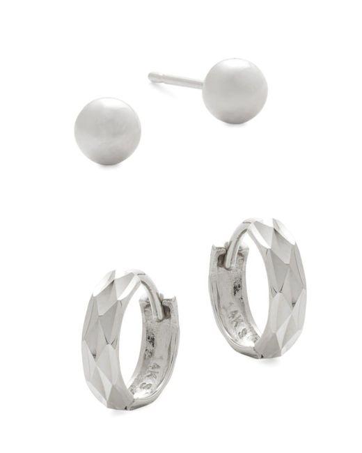 Saks Fifth Avenue Women's 14k White Gold 2-pack Stud & Huggie Earring Set