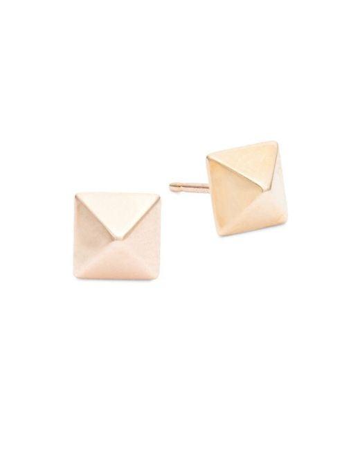 Saks Fifth Avenue - Metallic Pyramid 14k Rose Gold Earrings - Lyst