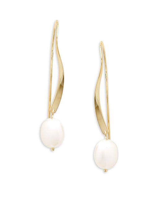 Saks Fifth Avenue - Metallic 14k Yellow God & Pearl Drop Earrings - Lyst
