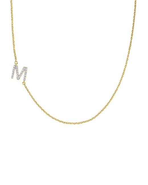 Saks Fifth Avenue Metallic Women's 14k Yellow Gold & Diamond M Initial Pendant Necklace