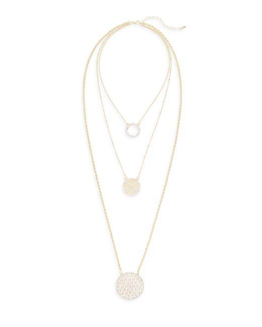 Saks Fifth Avenue   Metallic Triple-layered Crystal Pendant Necklace   Lyst