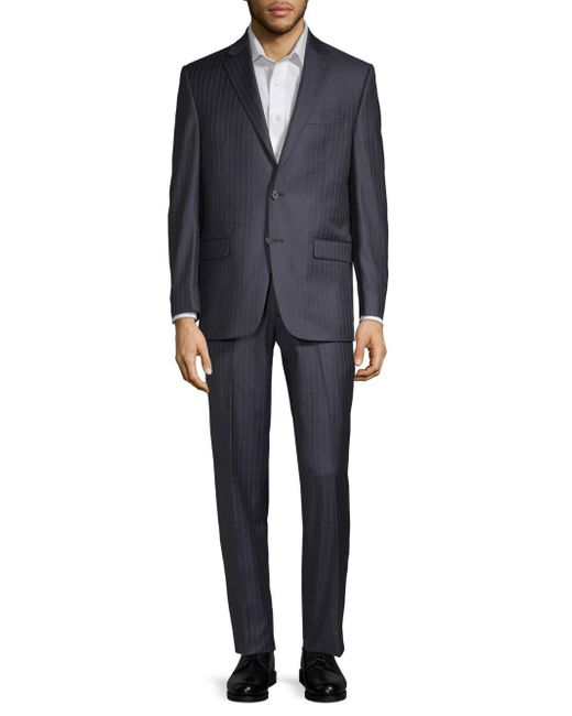 Lauren by Ralph Lauren - Blue Striped Wool Suit for Men - Lyst