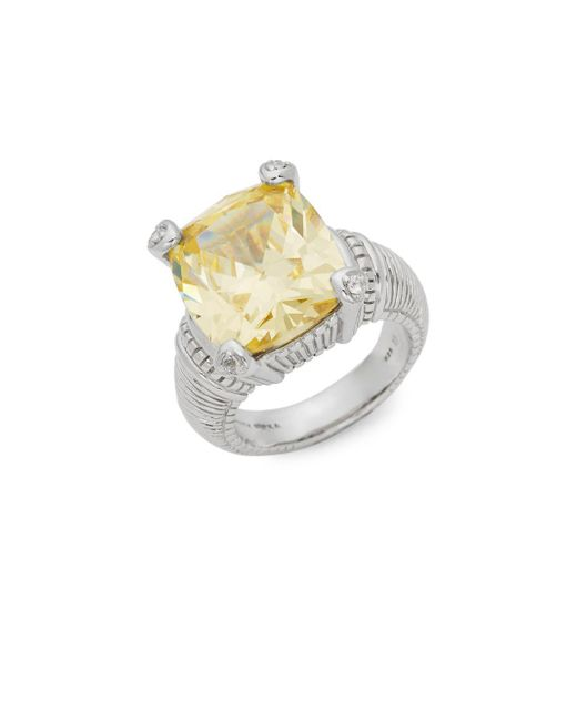 Judith Ripka - Metallic Fontaine Sterling Silver, Canary Crystal & White Topaz Solitaire Ring - Lyst