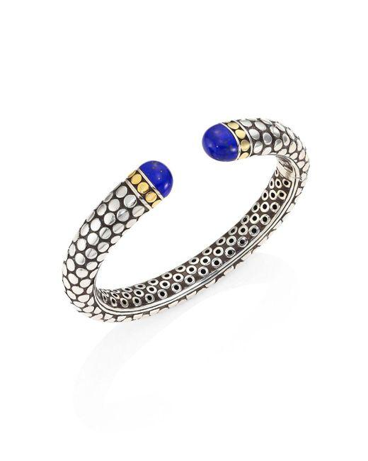 John Hardy - Metallic Batu Dot Lapis Lazuli, 18k Yellow Gold & Sterling Silver Medium Kick Cuff Bracelet - Lyst