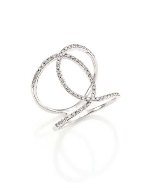 EF Collection - Metallic Pave Diamond & 14k White Gold Infinity Ring - Lyst