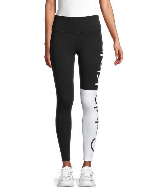Calvin Klein Women's Logo Colorblock Leggings - Black Beige - Size L