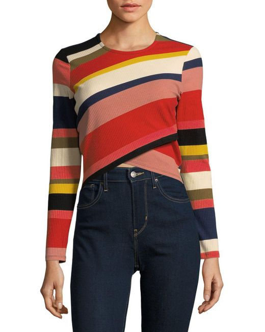 Plenty by Tracy Reese - Multicolor Stripe Asymmetrical Crop Top - Lyst
