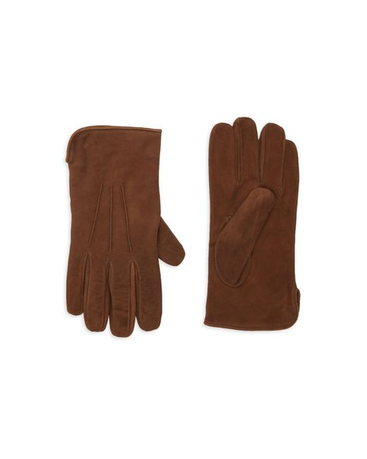 Portolano Brown Cashmere-lined Suede Gloves for men