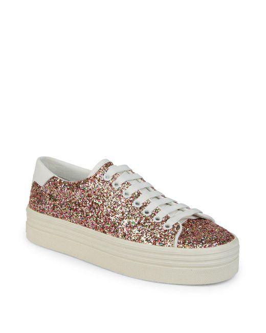 Saint Laurent - Multicolor Court Classic Glitter Platform Sneakers - Lyst