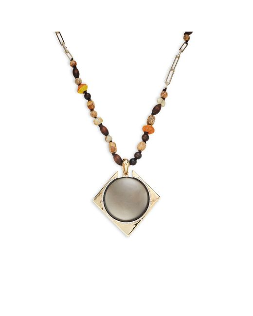 Alexis Bittar Multicolor Wood & Mixed Bead Lucite Pendant Long Necklace