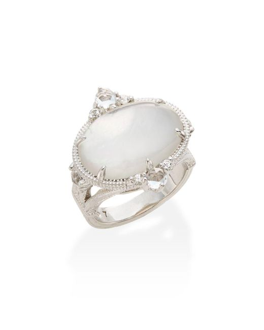 Judith Ripka | Metallic Allure White Sapphire, Rock Crystal, Mother-of-pearl & Sterling Silver Oval Ring | Lyst