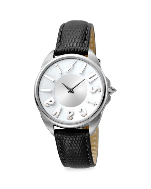 Just Cavalli Multicolor Women's Logo Stainless Steel Leather-strap Watch