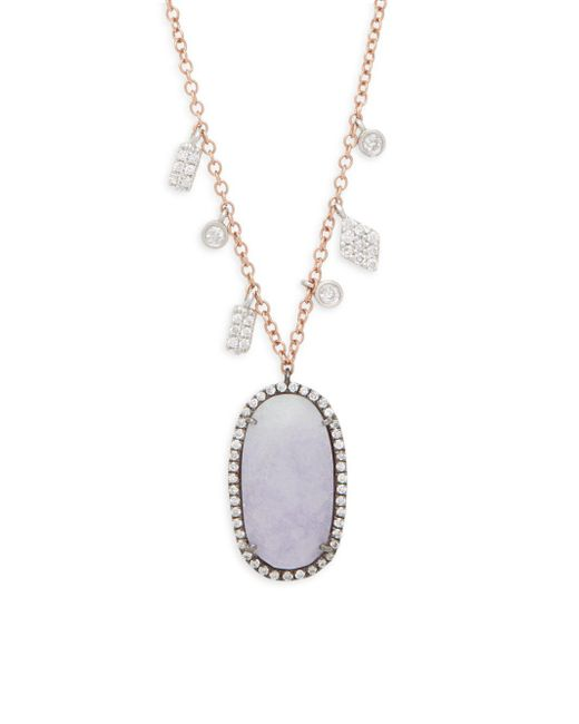 Meira T - Metallic White Oval Freshwater Pearl, Diamonds, Purple Jade And 14k Rose Gold Oblong Pendant Necklace, 0.49 Tcw - Lyst