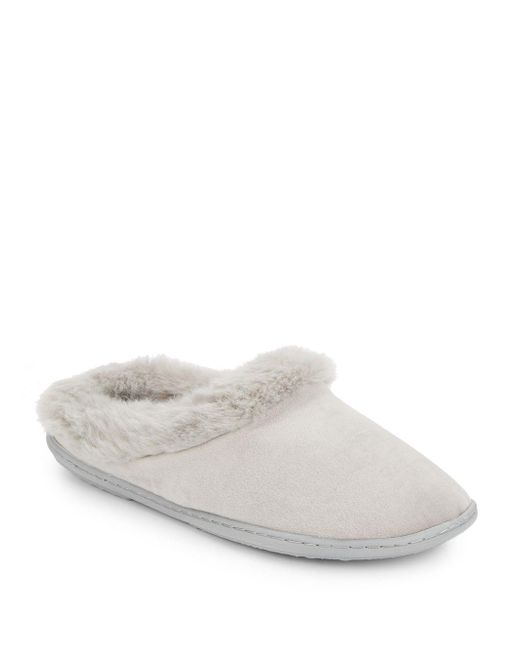 Saks Fifth Avenue   Gray Faux Fur-trimmed Plush Slippers   Lyst