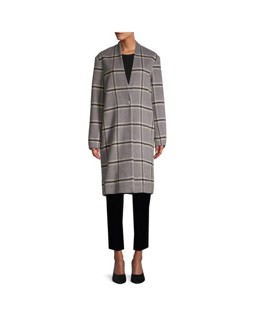 Pure Navy Gray Plaid Wool Coat