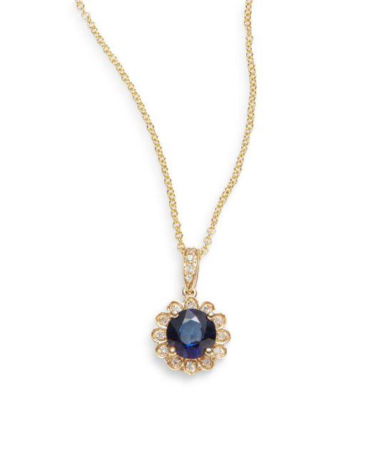 Effy - Blue Final Call Ceylon Sapphire, Diamond & 14k Yellow Gold Necklace - Lyst