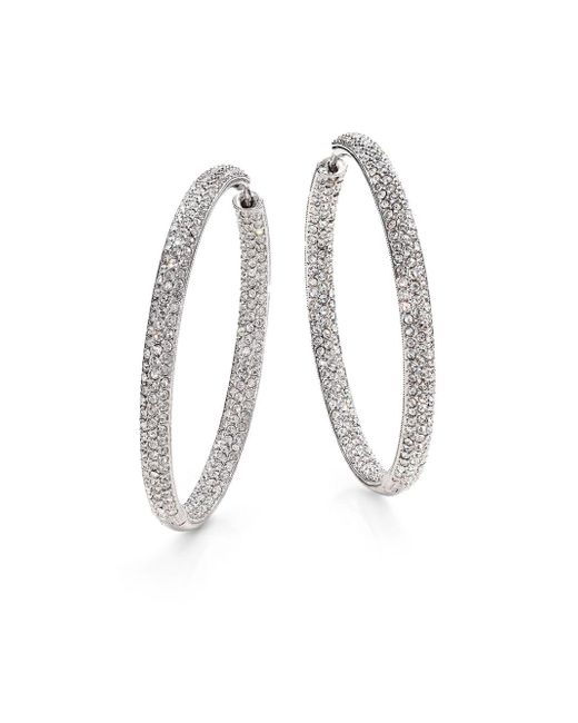 "Adriana Orsini - Metallic Pavà Silverplated Inside-outside Hoop Earrings/1.75"" - Lyst"