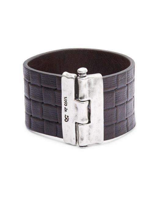 Uno De 50 | Metallic Textured Leather Bracelet | Lyst