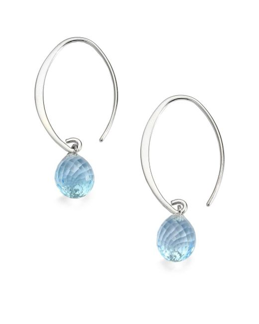 Saks Fifth Avenue - Blue Topaz & Sterling Silver Arc Earrings - Lyst