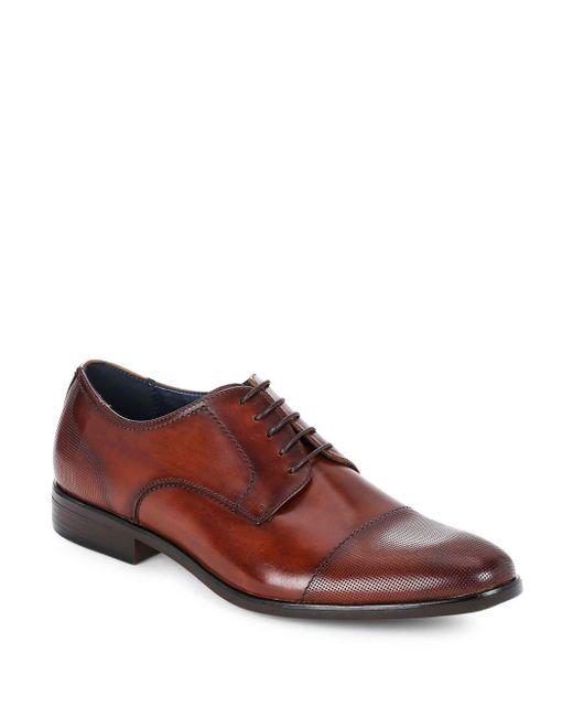 Steve Madden Brown Cap-toe Leather Dress Shoes for men