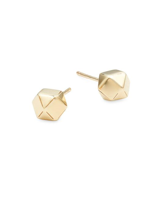 Saks Fifth Avenue - Metallic Textured Ball 14k Yellow Gold Stud Earrings - Lyst