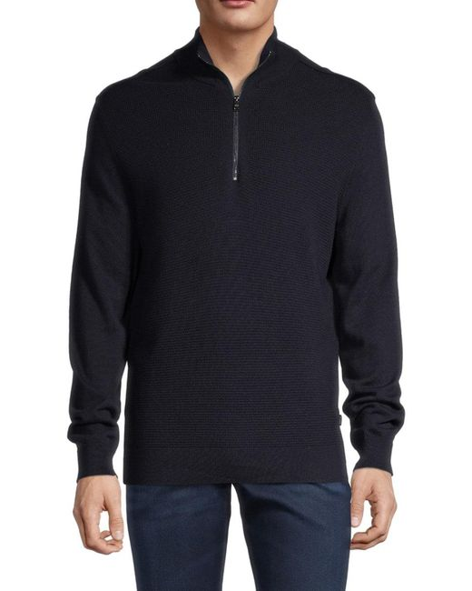 BOSS by Hugo Boss Blue Men's Quarter-zip Cotton & Wool-blend Jacket - Navy - Size Xxl for men