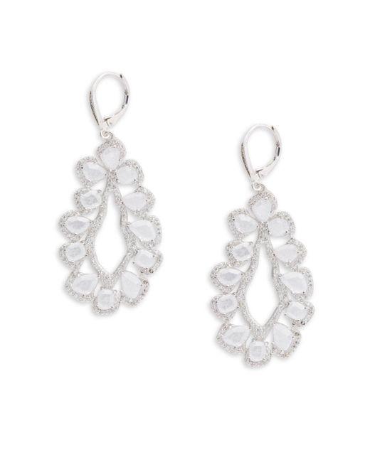 Saks Fifth Avenue | Metallic Cubic Zirconia Silvertone Earrings | Lyst