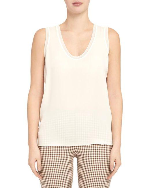 Theory Natural Women's Rib-knit Silk Shell Top - Fiji - Size M