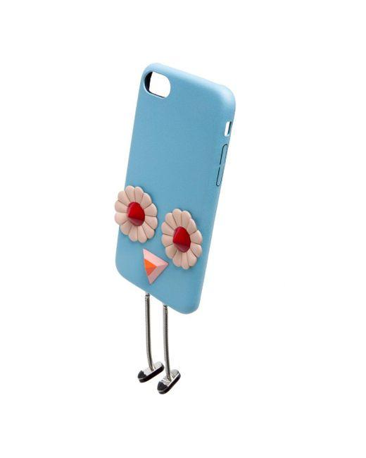 Fendi Blue Embellished Leather Iphone 7 Case