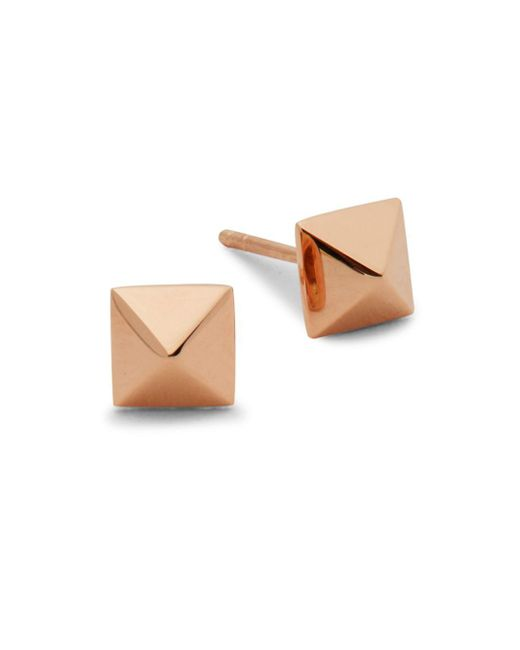 EF Collection - Metallic 14k Rose Gold Pyramid Stud Earrings - Lyst