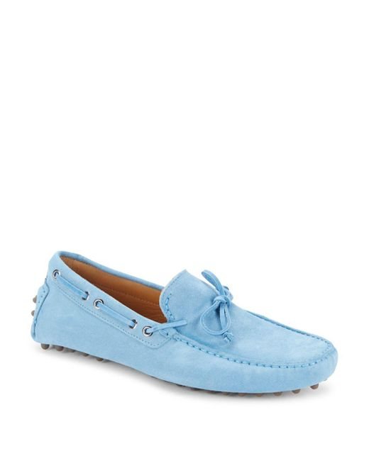 Saks Fifth Avenue | Blue Lace-up Leather Drivers for Men | Lyst