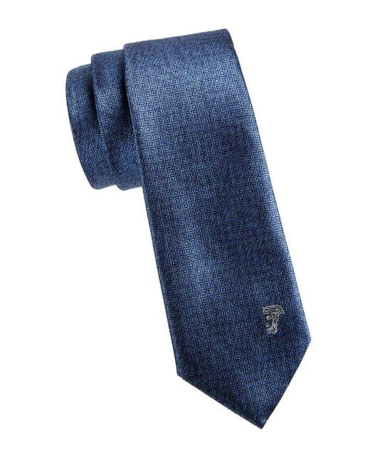 Versace Blue Square Silk Tie for men