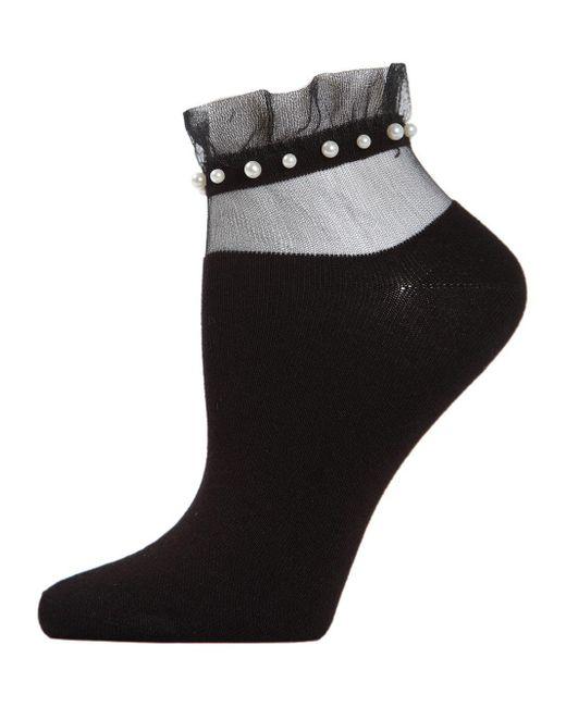 Memoi Black Sheer Ruffle-cuff Faux Pearl Anklet Socks