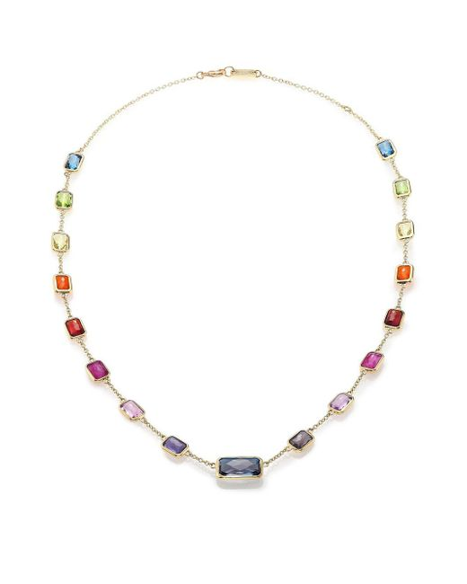 Ippolita - Metallic Rock Candy Fall Rainbow Semi-precious Multi-stone & 18k Yellow Gold Station Necklace - Lyst