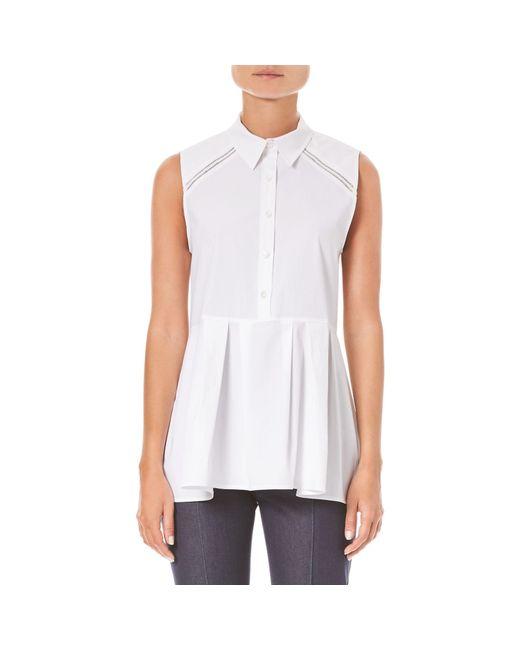Carolina Herrera White Stretch Sleeveless Peplum Shirt