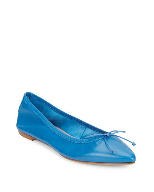 Saks Fifth Avenue   Blue Leather Point Toe Flats   Lyst