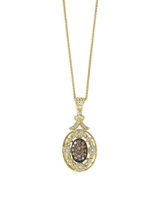 Effy - Metallic Final Call Diamond, Espresso Diamond And 14k Yellow Gold Necklace - Lyst
