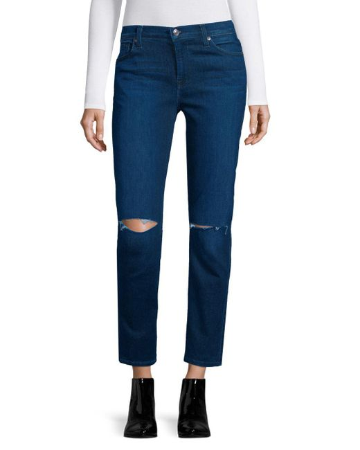 7 For All Mankind - Blue Ripped Jeans - Lyst