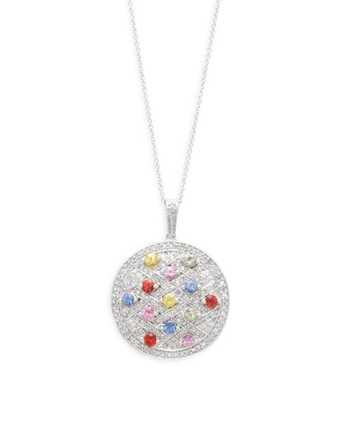 Effy - Metallic Diamond, Sapphire & 14k White Gold Round Pendant Necklace - Lyst