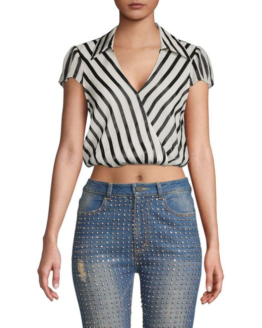 Alice + Olivia Black Dayer Striped Silk-blend Crop Top