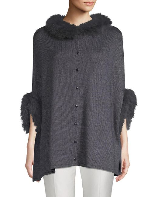 Belle Fare - Gray Dyed Fox Fur Trimmed Poncho - Lyst